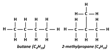 Image result for butane and 2-methylpropane
